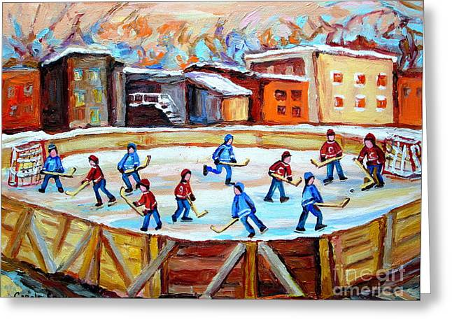Hockey Net Greeting Cards - Hockey In The City Outdoor Hockey Rink Montreal Memories Winter City Scenes Painting Carole Spandau  Greeting Card by Carole Spandau