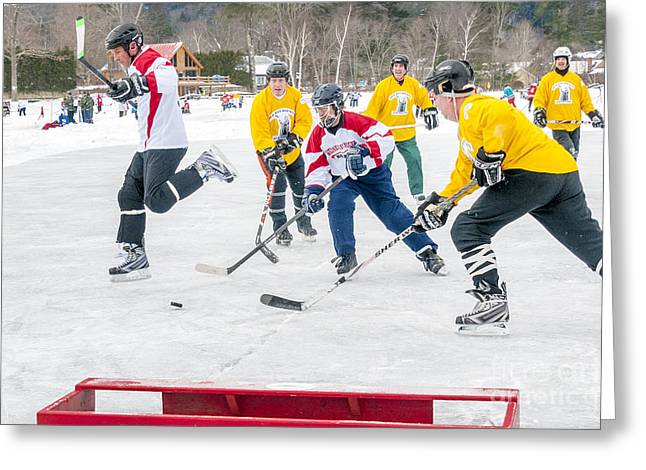 Pond Hockey Greeting Cards - Hockey in Vermont Greeting Card by Jim Block