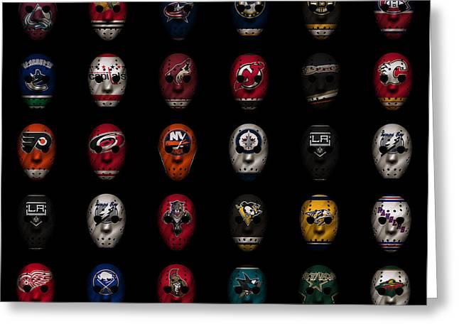 Hockey Sweater Greeting Cards - Hockey Jersey Goalie Masks Greeting Card by Joe Hamilton