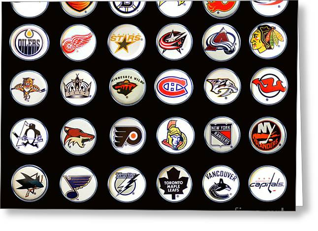 Bottle Cap Collection Greeting Cards - Hockey League Logos Bottle Caps Greeting Card by Barbara Griffin