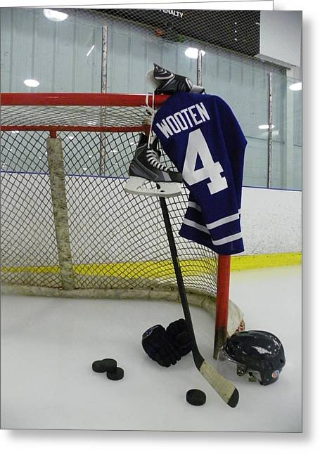 Glove Greeting Cards - Hockey Greeting Card by Lisa Wooten