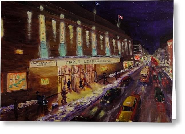 Hockey Paintings Greeting Cards - Hockey Memories - Maple Leaf Gardens Greeting Card by Brent Arlitt