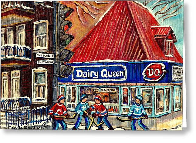Hockey Paintings Greeting Cards - Hockey Near The Ice Cream Shop In Verdun Montreal Paintings By Carole Spandau Greeting Card by Carole Spandau