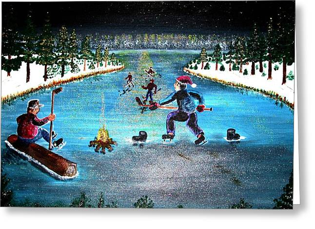 Hockey Paintings Greeting Cards - Hockey Night In Canada Greeting Card by Larry Matthews