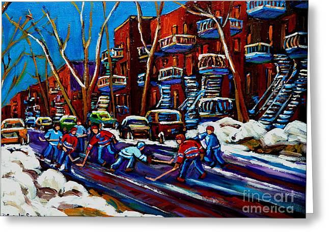 Hockey Paintings Greeting Cards - Hockey On De Bullion Montreal Greeting Card by Carole Spandau