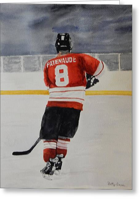 Hockey Paintings Greeting Cards - Hockey Passion Greeting Card by Betty-Anne McDonald