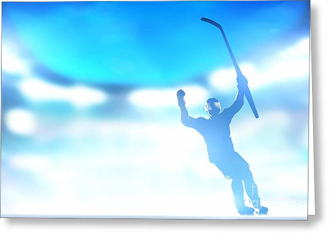 Professional Ice Hockey Greeting Cards - Hockey player celebrating goal victory Greeting Card by Michal Bednarek