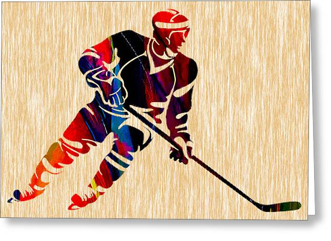 Hockey Player Greeting Card by Marvin Blaine