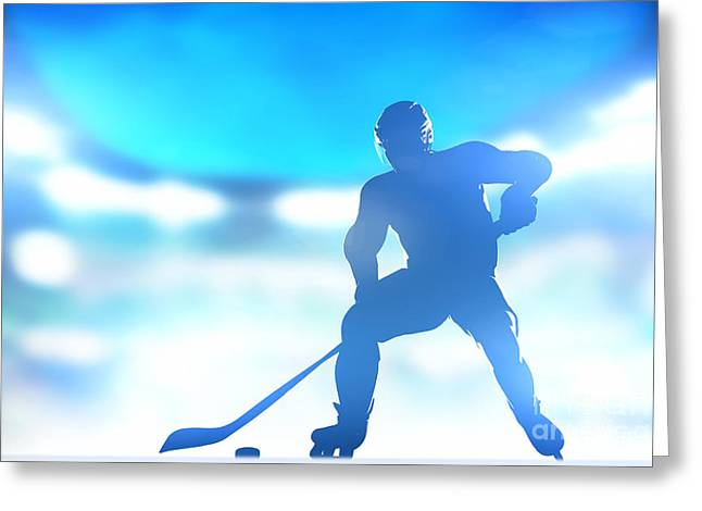 Hockey Helmet Greeting Cards - Hockey player skating with a puck in arena Greeting Card by Michal Bednarek
