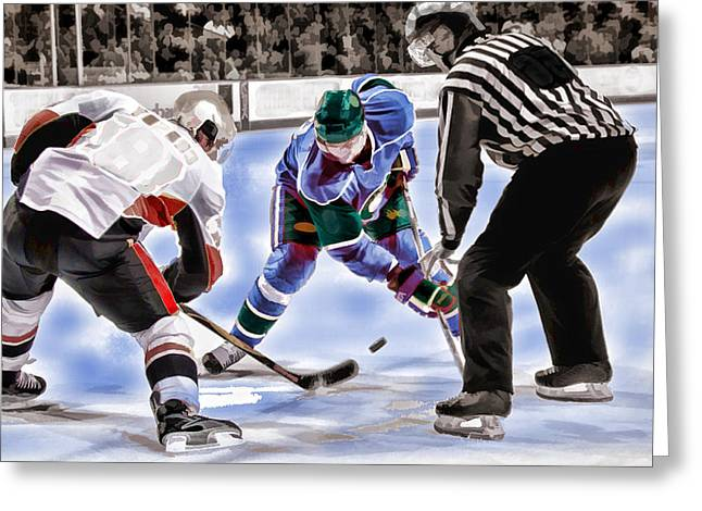 Hockey Paintings Greeting Cards - Hockey Players and Referee in Bold Watercolor Greeting Card by Elaine Plesser