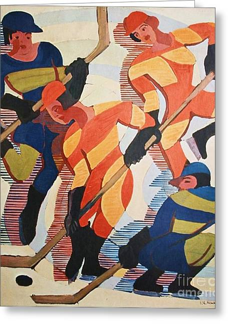 Hockey  Players Greeting Card by Pg Reproductions