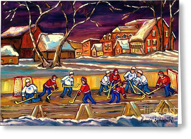 Hockey On Frozen Pond Greeting Cards - Hockey Practice In The Village Canadian Winter Night Scene Quebec Landscape Carole Spandau Greeting Card by Carole Spandau