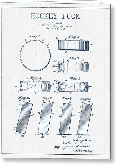 Hockey Digital Art Greeting Cards - Hockey Puck Patent Drawing From 1940 - Blue Ink Greeting Card by Aged Pixel