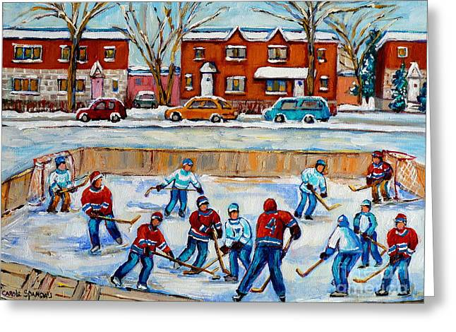 Hockey Street Scenes In Montreal Greeting Cards - Hockey Rink At Van Horne Montreal Greeting Card by Carole Spandau