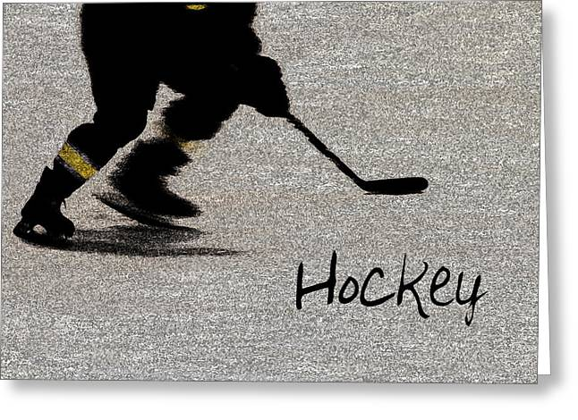 Puck Handling Greeting Cards - Hockey Shadow Greeting Card by Karol  Livote