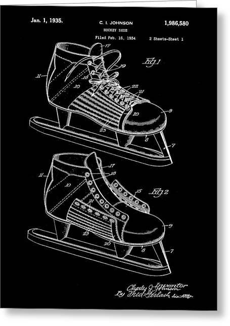 Antique Skates Greeting Cards - Hockey Shoe Patent 1934 - Black Greeting Card by Stephen Younts