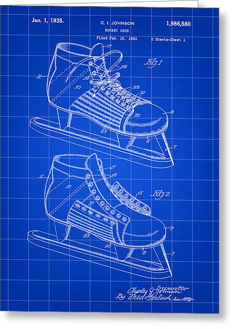 Best Sellers -  - Antique Skates Greeting Cards - Hockey Shoe Patent 1934 - Blue Greeting Card by Stephen Younts