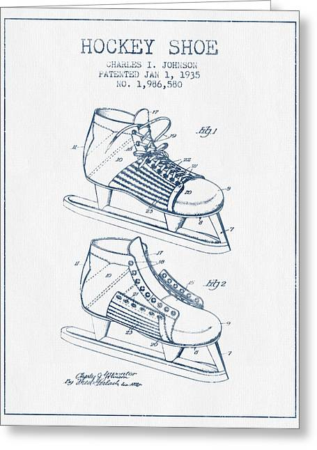 Antique Skates Greeting Cards - Hockey Shoe Patent Drawing From 1935- Blue Ink Greeting Card by Aged Pixel
