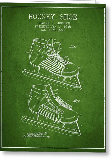Antique Skates Greeting Cards - Hockey Shoe Patent Drawing From 1935 - Green Greeting Card by Aged Pixel