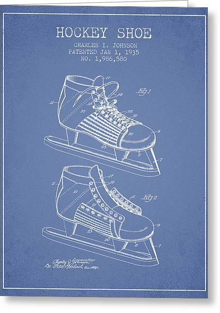 Hockey Shoe Patent Drawing From 1935 - Light Blue Greeting Card by Aged Pixel