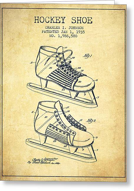 Skates Greeting Cards - Hockey Shoe Patent Drawing From 1935 - Vintage Greeting Card by Aged Pixel