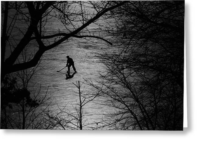 Park Photographs Greeting Cards - Hockey Silhouette Greeting Card by Andrew Fare