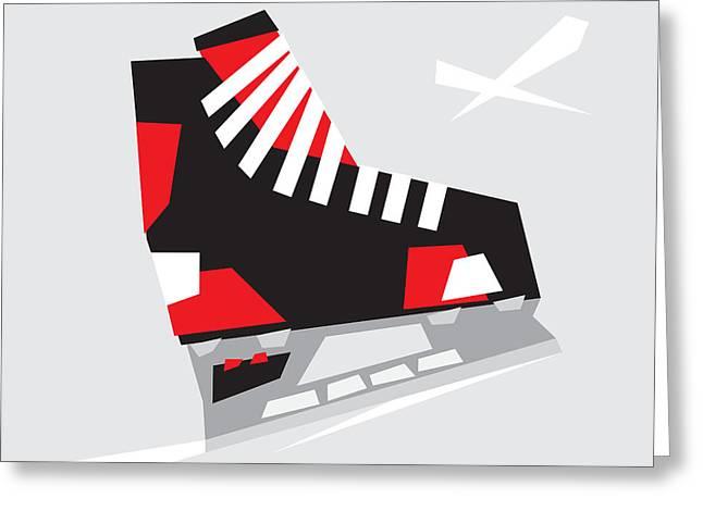 Ice-skating Greeting Cards - Hockey Skate Greeting Card by Igor Kislev