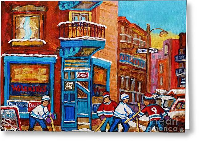 Streethockey Greeting Cards - Hockey Stars At Wilenskys Diner Street Hockey Game Paintings Of Montreal Winter  Carole Spandau Greeting Card by Carole Spandau