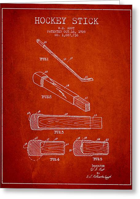 Hockey Digital Art Greeting Cards - Hockey Stick Patent Drawing From 1928 Greeting Card by Aged Pixel