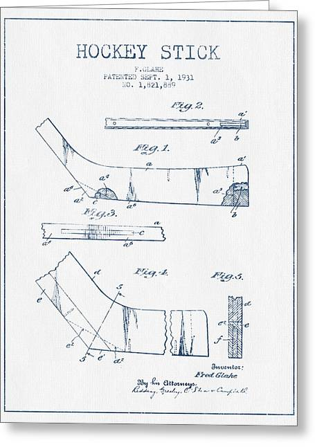 Hockey Art Greeting Cards - Hockey Stick Patent Drawing From 1931 - Blue Ink Greeting Card by Aged Pixel