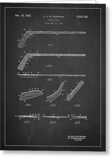 Hockey Greeting Cards - Hockey Stick Patent Drawing From 1934 Greeting Card by Aged Pixel