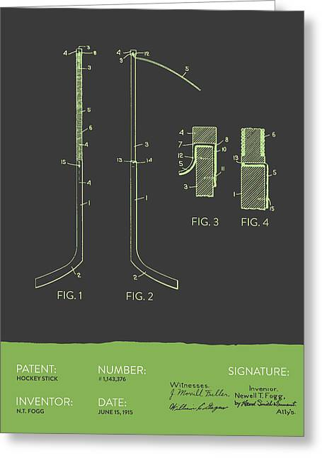 Hockey Art Greeting Cards - Hockey Stick Patent From 1915 - Gray Green Greeting Card by Aged Pixel