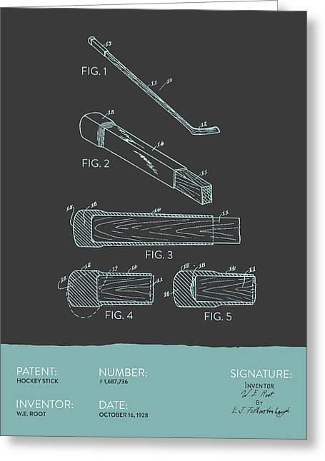 League Greeting Cards - Hockey Stick Patent From 1928 - Gray Blue Greeting Card by Aged Pixel