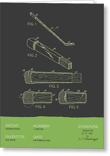 League Greeting Cards - Hockey Stick Patent From 1928 - Gray Green Greeting Card by Aged Pixel