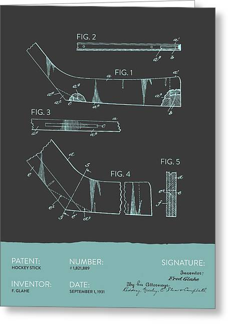 National Digital Art Greeting Cards - Hockey Stick Patent From 1931 - Gray Blue Greeting Card by Aged Pixel