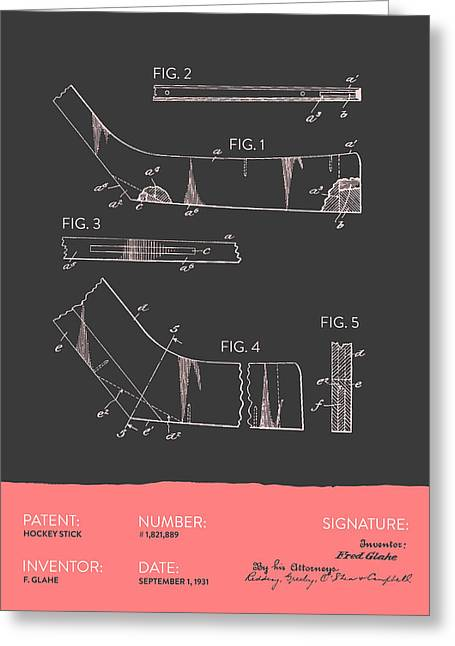 League Greeting Cards - Hockey Stick Patent From 1931 - Gray Salmon Greeting Card by Aged Pixel