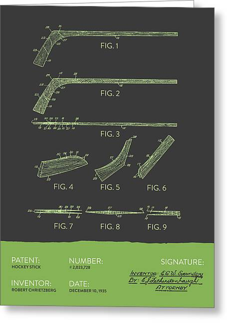 National Digital Art Greeting Cards - Hockey Stick Patent From 1935 - Gray Green Greeting Card by Aged Pixel