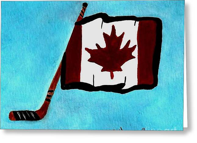 Hockey Paintings Greeting Cards - Hockey stick with Canadian Flag Greeting Card by Gail Matthews