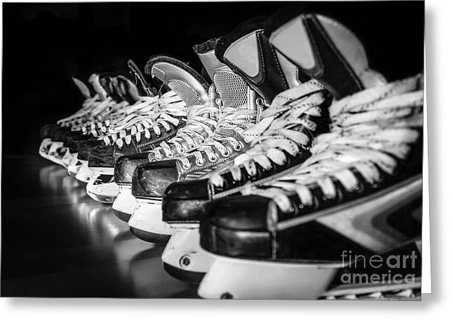 Black Boots Greeting Cards - Hockey Time Greeting Card by JR Photography