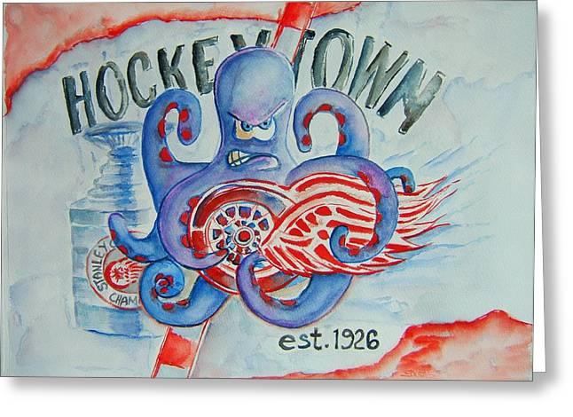 Best Sellers -  - Hockey Paintings Greeting Cards - Hockeytown Greeting Card by Elaine Duras
