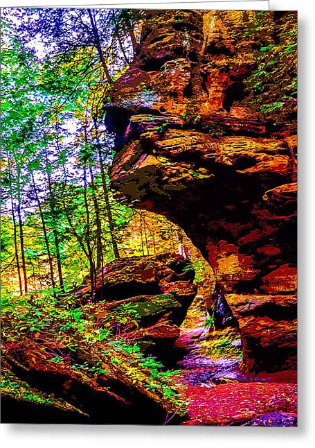 Stepping Stones Mixed Media Greeting Cards - Hocking Hills Sphinx Head Greeting Card by Brian Stevens
