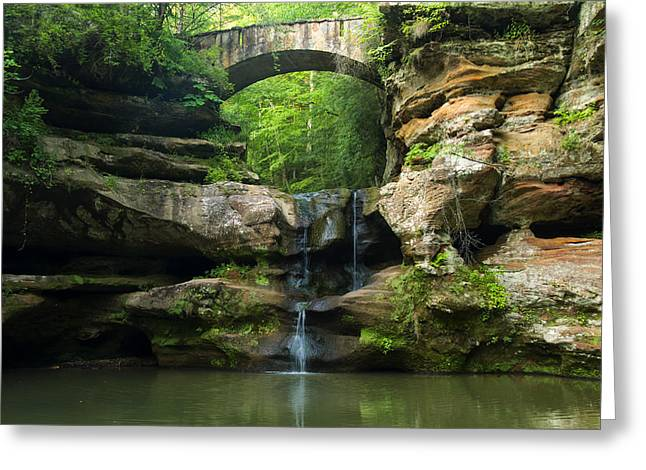 Waterfall Image Greeting Cards - Hocking Hills Waterfall 1 Greeting Card by Chris Flees