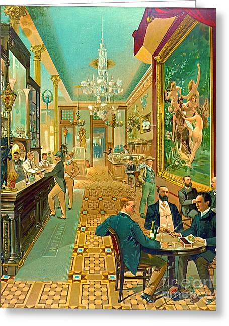 Nymphs And Satyr Greeting Cards - Hoffman House Bar 1890 Greeting Card by Padre Art