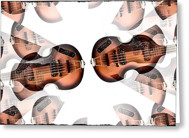 Hofner Greeting Cards - Hofner Bass Abstract Greeting Card by Bill Cannon