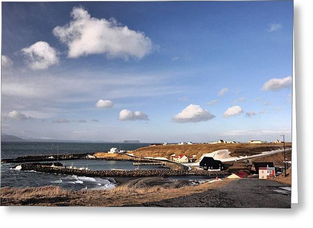 Buildings In The Harbor Greeting Cards - Hofsos - Iceland Greeting Card by Alicja Magdalena Zbikowska