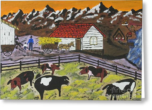Wooden Wagons Paintings Greeting Cards - Hog Heaven Farm Greeting Card by Jeffrey Koss