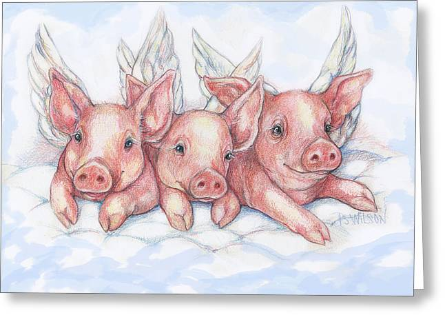 Piglets Mixed Media Greeting Cards - Hog Heaven Greeting Card by Peggy Wilson