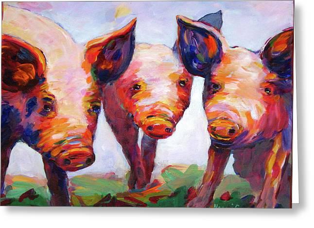 Friendly Hog Greeting Cards - Hog Marketing Board Greeting Card by Naomi Gerrard