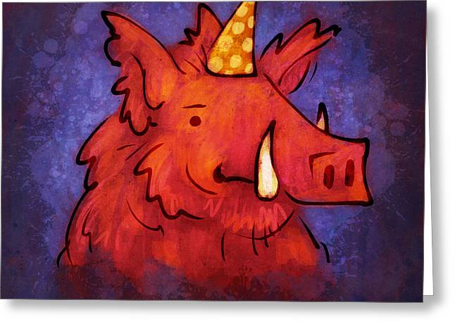 Razorbacks Drawings Greeting Cards - Hog Wild Greeting Card by Jack Myers