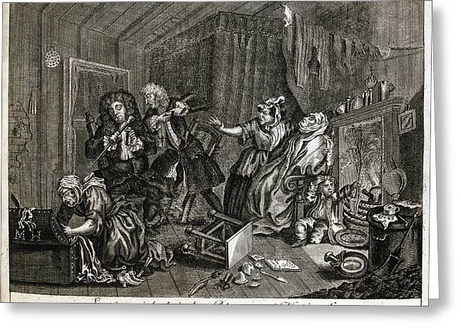 Hogarth On Venereal Disease Greeting Card by British Library
